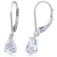 Silver Earrings CZ - Pear Shape