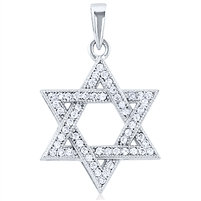 "Star of David Silver Pendant with Micro Set CZ with singapore 18"" chain"