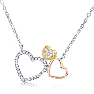 Silver Rose Gold and Gold Plated Three Hearts Necklace With CZ.