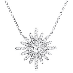Star Silver Necklace with Cubic Zirconia