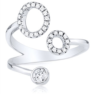 Tri  Silver Ring with CZ