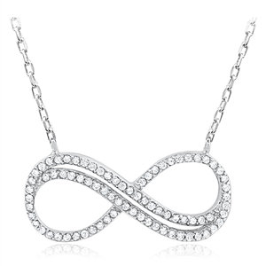 Silver Infinity Necklace with Cubic Zirconia