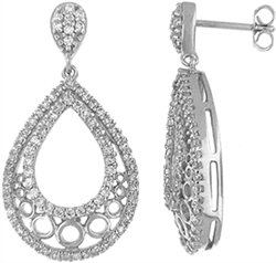 Tear Drop  Silver Earring with CZ