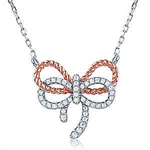 Silver Double Bow Rose Gold Plated Necklace with CZ