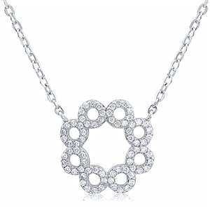 Silver Necklace With CZ  NK003