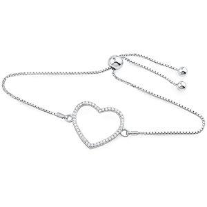 Silver Heart Bracelet Fit Wrist with CZ  BR001