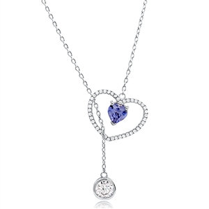 Silver Lariat Heart Necklace with Cubic Zirconia