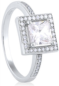 Silver Ring with Micro Set CZ  RG003