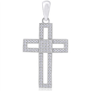 Silver Cross Pendant with CZ - Micro Setting