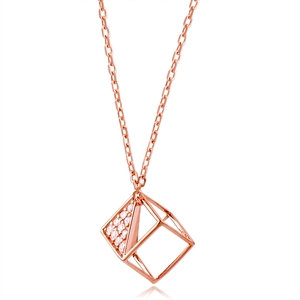 Silver Cube Necklace Rose Plated with CZ