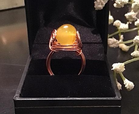 Yellow Mountain Jade Bead Ring