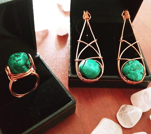 Raw Turquoise Ring and Earrings