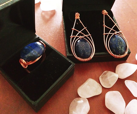 Lapis Lazuli Ring and Earrings