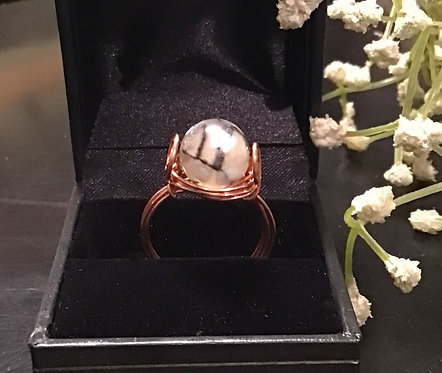 Crackle Agate Copper Ring
