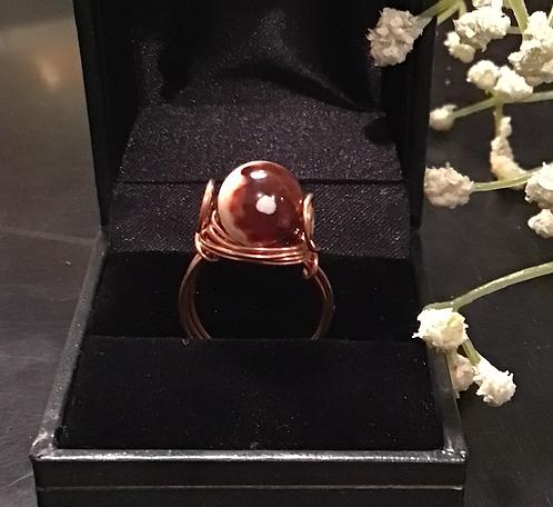 White Lace Red Jasper Copper Ring