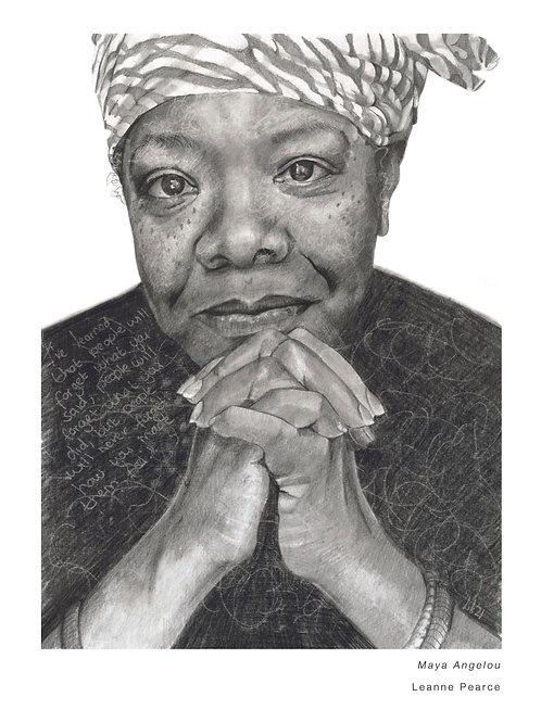 Maya Angelou A3 pencil portrait print