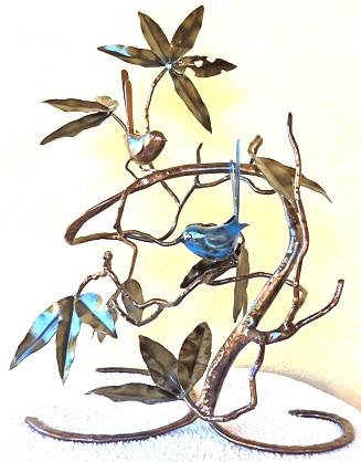 Blue wren sculpture