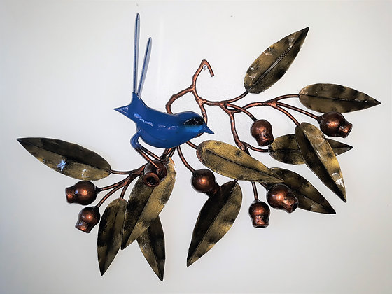 Blue wren on a branch - 11 leaf wallhanging