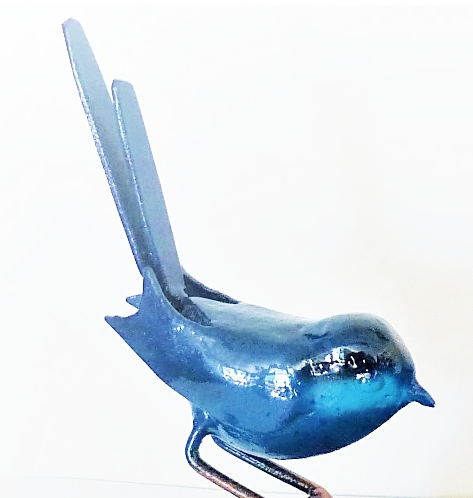 Blue Wren (male) bird sculpture