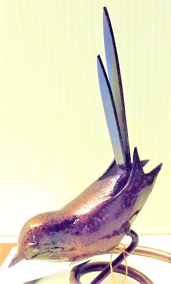 Blue Wren (female) bird sculpture
