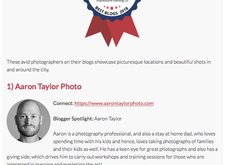 #1 Photography Blog in Columbus Award