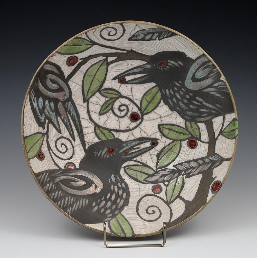 Barb Hranilovich Raku Crow Bowl