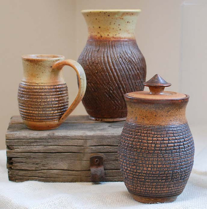 Tim Sime, three brown pots.JPG