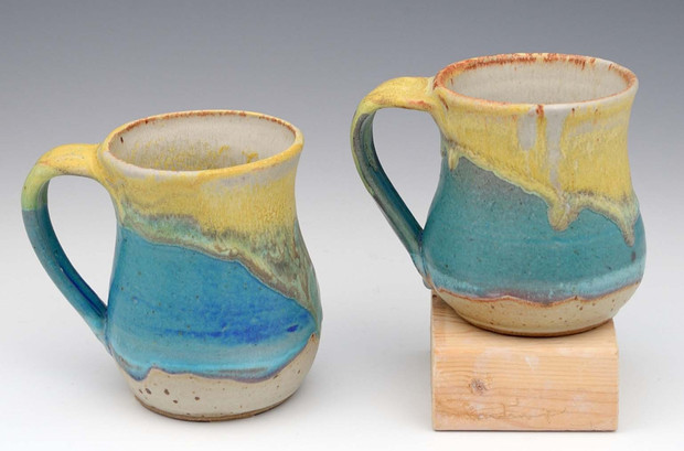Barb Seasr, yellow blue mugs.JPG