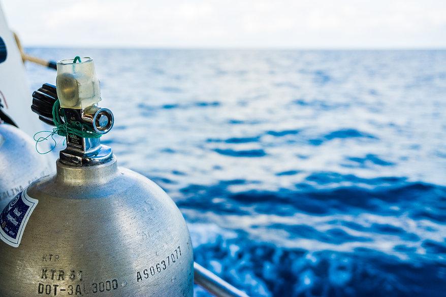 Oxigen tanks on boat for scuba diving, Diving equipment.jpg