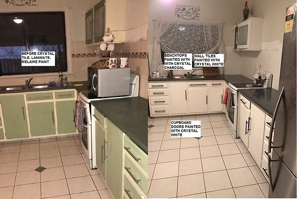 Before and After Tile, Laminate and Melamine Paint White and Charcoal