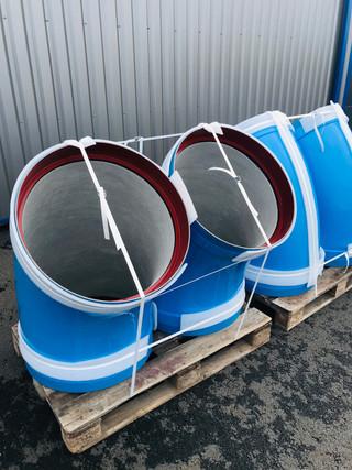Coudes DN600 - Ciment int / PE à chaud ext