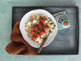 Roasted British Tomato Couscous with Lemon, Mint and Feta