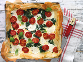 Over-roasted Tomato, Spinach and Mozzarella Tart
