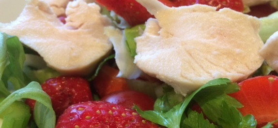 Chicken, avocado and strawberry salad