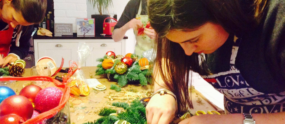 Christmas Preparation – wreath and canapes workshop