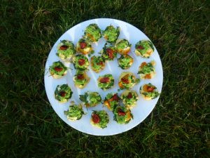plate of frittata canapés