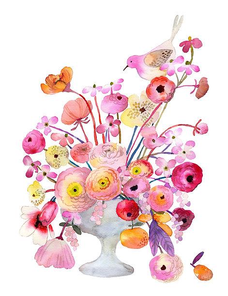 Lovely Flowers & Bird