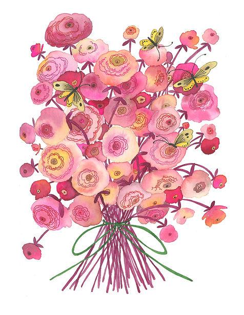 Pink Flower & Yellow Butterflies