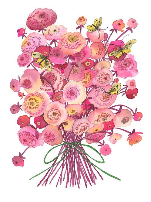 Pink Flowers & Yellow Butterflies