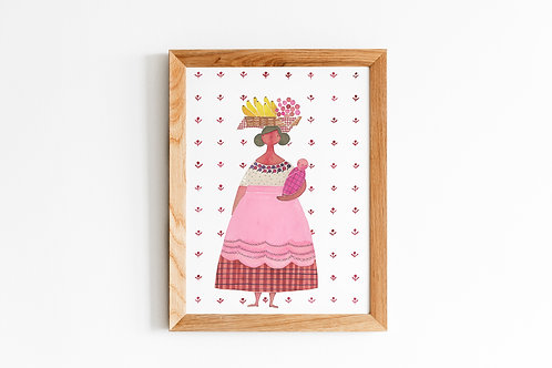 Mexican Woman with Baby& Fruit Basket