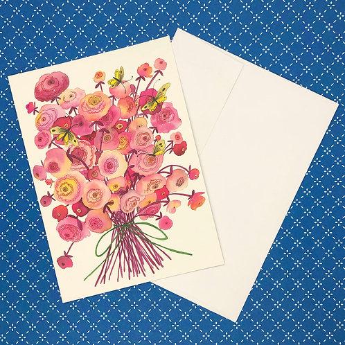 Pink Flowers & Yellow Butterflies Greeting Card