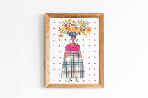 Mexican Woman with Flower Basket