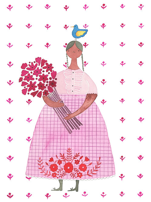 Mexican Woman with Bouquet & Blue Bird