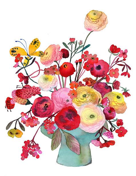 Flowers & Dancing Butterfly