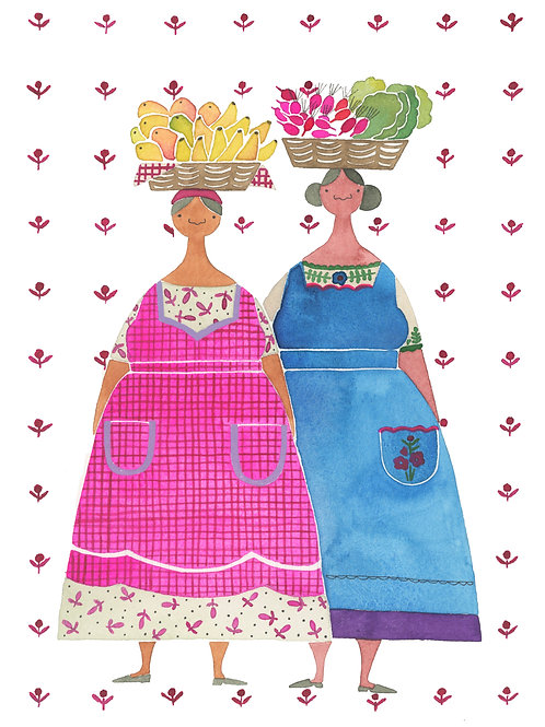 Mexican Women with Food Baskets