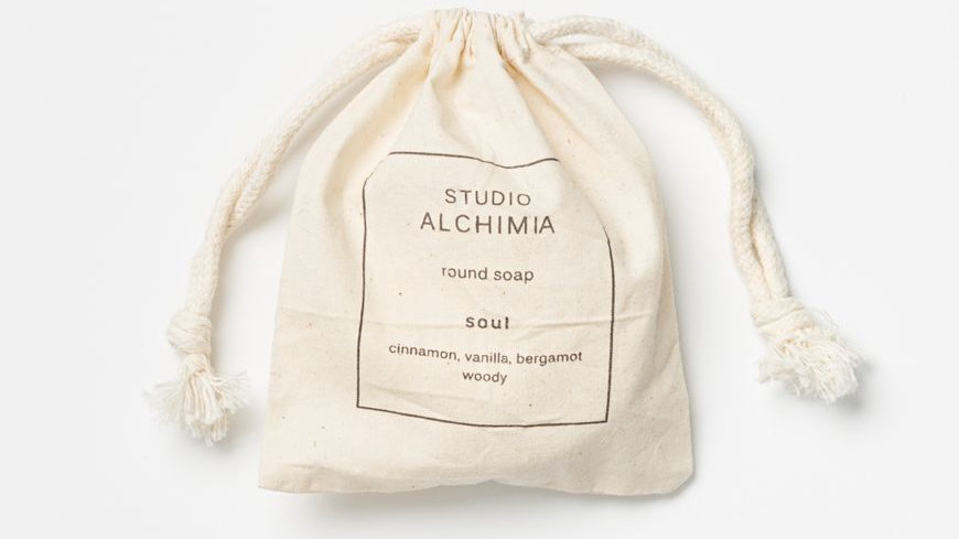SOAP - solid soap w essential oils in calico bag