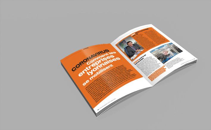 Mise en page du mensuel Lyon Décideurs #3, Joanna Perraudin, graphiste freelance print
