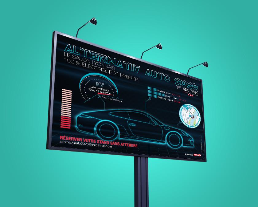 Création d'une affiche pour le salon Alternativ'auto 2020, Joanna Perraudin, graphiste print freelance