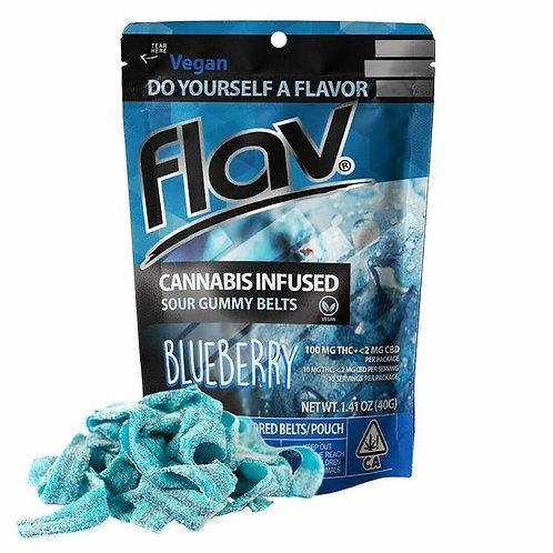 Flav Sour Gummy Belts Blueberry