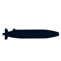 The lateral view of a black submarine